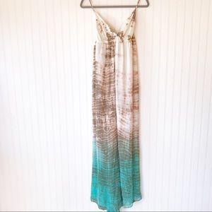 Gypsy 05 silk tie dye maxi dress blue cream S